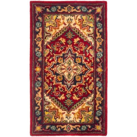 """Safavieh Handmade Heritage Traditional Heriz Red/ Navy Wool Runner - 2'3"""" x 4'"""