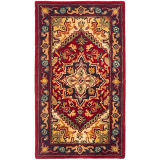 Safavieh Handmade Heritage Traditional Heriz Red/ Navy Wool Runner (2'3 x 4')