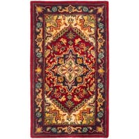 Safavieh Handmade Heritage Traditional Heriz Red/ Navy Wool Runner Rug - 2'3 x 4'