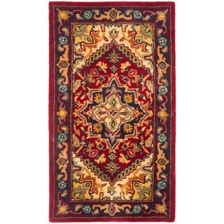 "Safavieh Handmade Heritage Traditional Heriz Red/ Navy Wool Runner - 2'-3"" x 4'"