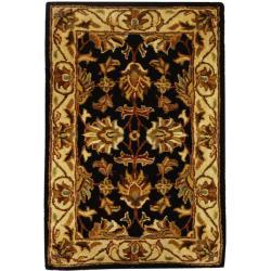 Safavieh Handmade Heritage Traditional Kashan Black/ Beige Wool Runner (2'3 x 4')