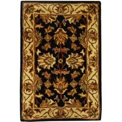 Safavieh Handmade Heritage Traditional Kashan Black/ Beige Wool Runner (2'3 x 4')