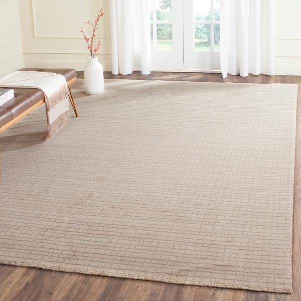 Safavieh Handmade Himalaya Beige Grid Wool Area Rug - 8' x 10'