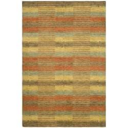 Safavieh Handmade Himalaya Multicolored Plaid Wool Tibetan Rug (4' x 6')