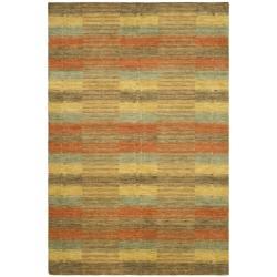 Safavieh Handmade Himalaya Multicolored Plaid Wool Tibetan Rug (8' x 10') - Thumbnail 0