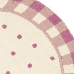 Safavieh Handmade Novelty Pink Wool Rug (4' Round) - Thumbnail 1