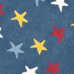 Safavieh Handmade Novelty Stars Blue Wool Rug (3' Round) - Thumbnail 2