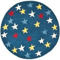 Safavieh Handmade Novelty Stars Blue Wool Rug - 4' x 4' Round