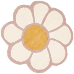 Safavieh Handmade Novelty Daisy Pink Shaped Wool Rug (4' Round)