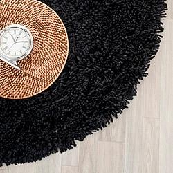Safavieh Classic Ultra Handmade Black Shag Rug (6' Round)