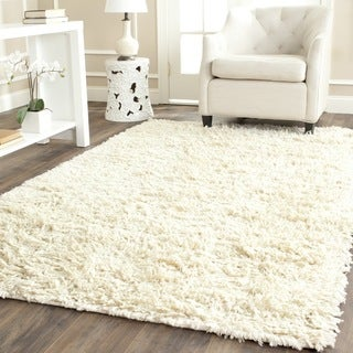 Safavieh Handmade Shaggy Ivory Natural Wool Rug (8' Square)