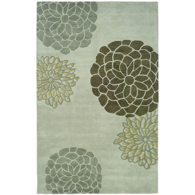 Safavieh Handmade Soho Botanical Light Grey N. Z. Wool Rug - 7'6 x 9'6