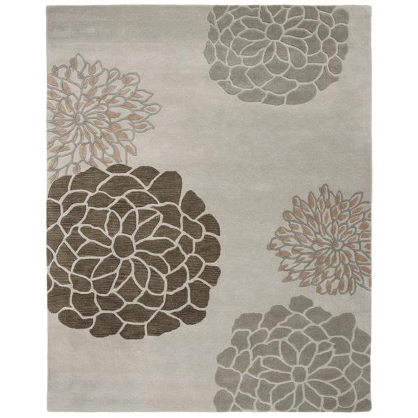 "Safavieh Handmade Soho Botanical Light Grey N. Z. Wool Rug - 8'3"" x 11'"