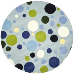 Safavieh Handmade Bubblegum Light Blue/ Multi N. Z. Wool Rug (8' Round)
