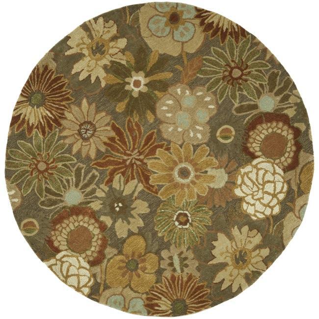 Safavieh Handmade Soho Gardens Brown/ Multi N. Z. Wool Rug (6' Round)