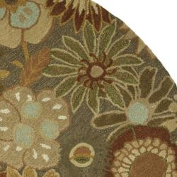Safavieh Handmade Soho Gardens Brown/ Multi N. Z. Wool Rug (6' Round) - Thumbnail 1