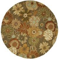 Safavieh Handmade Soho Gardens Brown/ Multi N. Z. Wool Rug - 6' x 6' Round