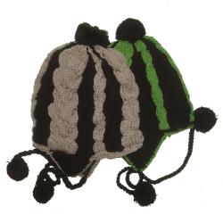 Cotton and Wool Two-tone Striped Ski Hat (Nepal) - Thumbnail 1