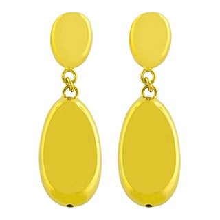 Fremada 18k Yellow Gold over Silver Electroform Dangle Earrings