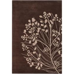 Hand-tufted Mandara Brown/ Beige New Zealand Wool Rug (5' x 7'6) - Thumbnail 1
