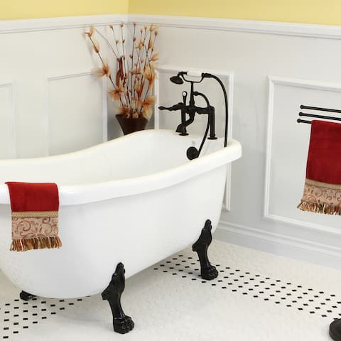 Deck-mount Clawfoot Oil Rubbed Bronze Tub Faucet with Hand Shower