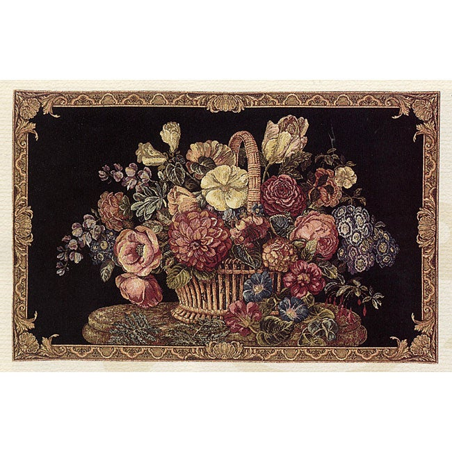 Flemish Flowers Basket 26x40 Wall Tapestry
