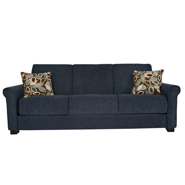Portfolio Convert-a-Couch Federal Blue Chenille Rolled Arm Futon Sofa Sleeper