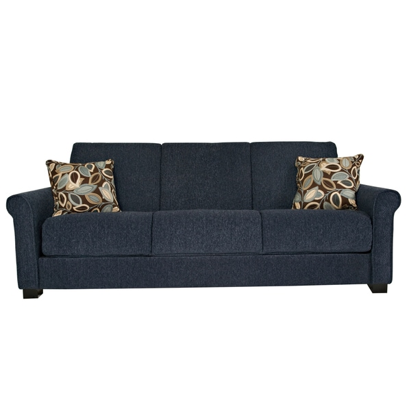 Shop Portfolio Convert A Couch Federal Blue Chenille Rolled Arm Futon Sofa Sleeper Overstock