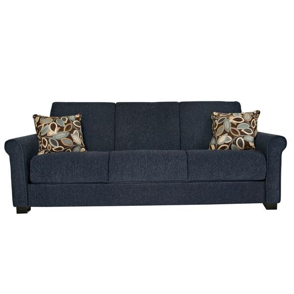 Portfolio Convert-a-Couch Federal Blue Chenille Rolled Arm Futon Sofa Sleeper