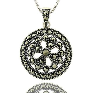 Dolce Giavonna Sterling Silver Marcasite Medallion Necklace