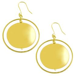 Fremada 18k Yellow Gold over Silver Polished Disc Orbit Dangle Earrings