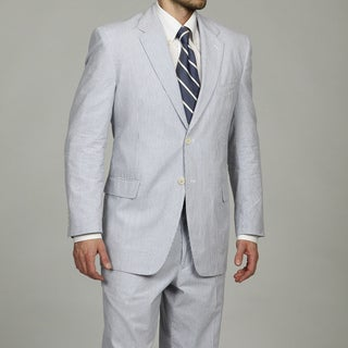 Shop Adolfo Men S Blue White 2 Button Seersucker Suit