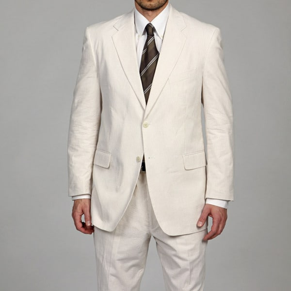 Adolfo Men's Tan/White 2-button Seersucker Suit FINAL SALE