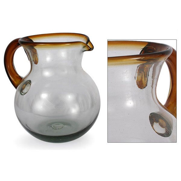 Blown Glass 'Amber Harmony' Pitcher Beverage Dispenser (Mexico)