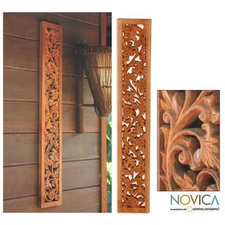 Floral Wilderness Artisan Handcarved Vertical or Horizontal Brown Decor Accent Rain Tree Wood Relief Wall Art Panel (Thailand)