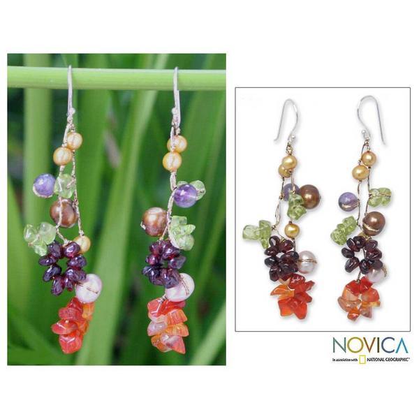 Handmade Pearl and Gemstone 'Tropical' Drop Earrings (4-8 mm) (Thailand)