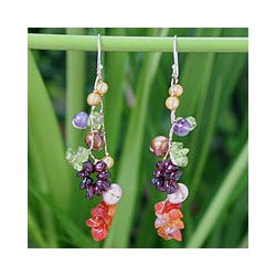 Handmade Pearl and Gemstone 'Tropical' Drop Earrings (4-8 mm) (Thailand)