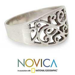 Sterling Silver 'Arabesque' Handmade Ring (Thailand)