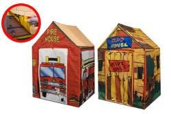 Two-in-One Fire Station Club House Foldable Polyester Play Tent - Thumbnail 1