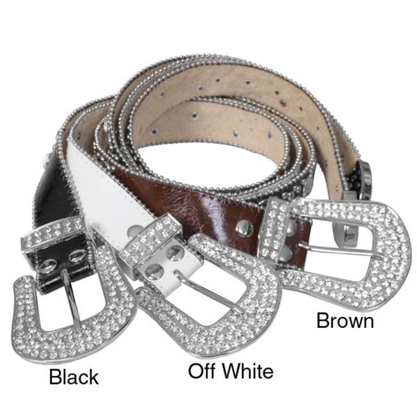 Journee Collection Women's Rhinestone Detailed Leather Belt