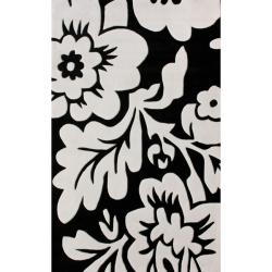Thumbnail 1, nuLOOM Handmade Pino Collection Black/ White Floral Rug (5' x 8').
