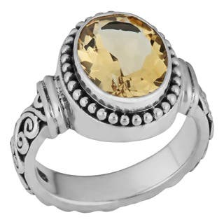 Handmade Sterling Silver Citrine 'Cawi' Ornamented Ring (Indonesia)|https://ak1.ostkcdn.com/images/products/5506872/P13289125.jpg?impolicy=medium