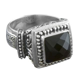 Handmade Sterling Silver 'Cawi' Ornamented Black Onyx Ring (Indonesia)|https://ak1.ostkcdn.com/images/products/5506873/P13289126.jpg?impolicy=medium