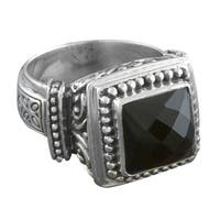 Handmade Sterling Silver Black Onyx Bold Cawi Ring (Indonesia)