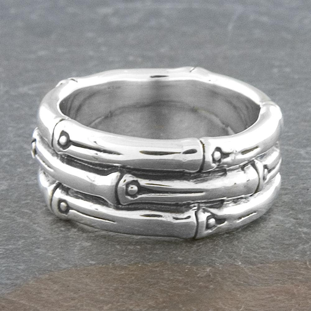 Sterling Silver Bamboo Style 'Cawi' Band Ring (Indonesia)