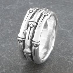 Sterling Silver Bamboo Style 'Cawi' Band Ring (Indonesia) - Thumbnail 1