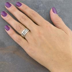 Sterling Silver Bamboo Style 'Cawi' Band Ring (Indonesia) - Thumbnail 2