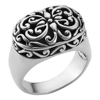 Handmade Sterling Silver Oval Ornamented 'Cawi' Ring (Indonesia)