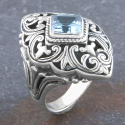 Handmade Sterling Silver Blue Topaz 'Cawi' Art Ring (Indonesia)
