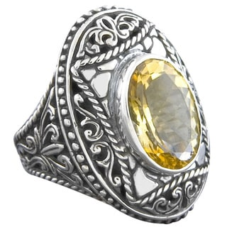 Handmade Sterling Silver Citrine 'Cawi' Cross Ring (Indonesia)